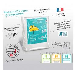 Protège matelas 100% coton imperméable et anti acariens